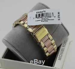 New Authentic Michael Kors Layton Rose Gold Crystals Women's Mk6476 Watch