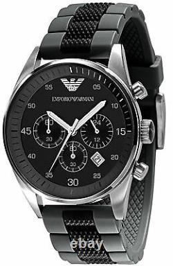 New Emporio Armani Ar5866 Mens Black Grey Watch 2 Years Warranty Certificate