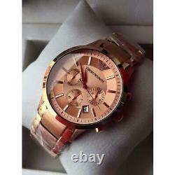 New Genuine Emporio Armani Ar2452 Rose Gold Chronoraph Men's Watch Uk Rrp £399