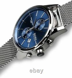 New Genuine Hugo Boss 1513441 Mens Jet Blue Dial Mesh Strap Chronograph Watch Uk