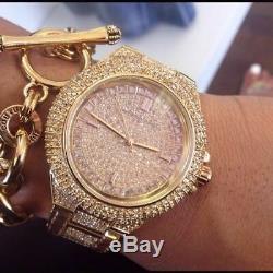 New Genuine Michael Kors Mk5862 Camille Rose Gold Pave Crystal Glitz Women Watch