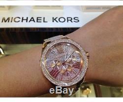 New Genuine Michael Kors Mk6096 Rose Gold Crystals Wren Ladies Watch Uk Stock