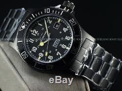 New Glycine 42mm Combat Sub Swiss Auto Sapphire Crystal Blk Watch 3908, Gl0079