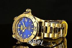 New Invicta Pro Diver Automatic with24 Jewels Gold Tone Blu Dial SS Bracelet Watch