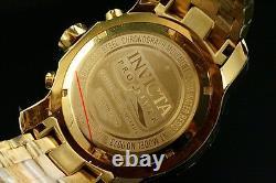 New Invicta Pro Diver Scuba 18K Gold Plated Blue Dial Chrono S. S Bracelet Watch