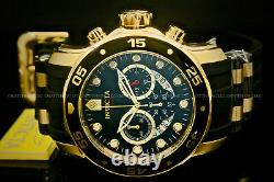 New Invicta Scuba Pro Diver 48MM Chrono 18K Gold Plated Blak DialS. S Poly Watch