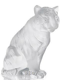 New Lalique Crystal Sitting Tiger Figurine #10058000 Brand Nib Clear Save$ F/sh
