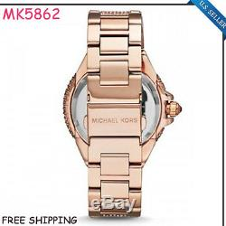 New Michael Kors MK5862 Camille Glitz Rose Gold Pave Crystal Round Women's Watch