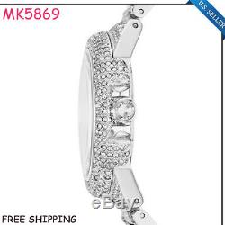 New Michael Kors MK5869 Camille Silver-Tone Crystal Pave Glitz Dial Ladies Watch