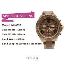 New Michael Kors MK6096 Wren Rose Gold Blush Chrono Womens Glitz Stainless Watch