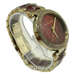 New Michael Kors MK6427 39mm Parker Red Chronograph and Gold Women's Watch