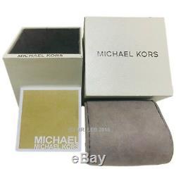 New Michael Kors Men's Dylan Quartz S. Steel Black Silicone 100m Watch MK8445