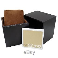 New Michael Kors Parker MK6313 Gold / White Logo Dial Wrist Crystal Women Watch