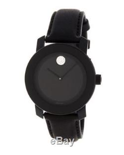 New Women's Movado (3600483) Bold Black Leather Strap Crystal Watch