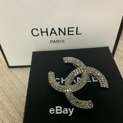 Nib- Chanel Crystal CC Logo Brooch Classic Silver Pin