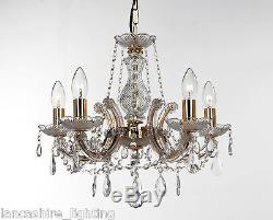Pack of 2 Marie Therese Glass Crystal LED Chandelier Light Polished Brass