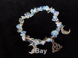 Pretty Opalite Moonstone Bracelet triquetra & moon goddess wicca pagan crystal