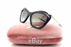 RARE New Genuine MIU MIU Glow Blue Gold Crystal Grey Sunglasses MU 03PS 0AX-0A7