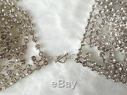 Rhinestone lingerie crystal chain bra panties jewelry burlesque bridal 2 pc Set