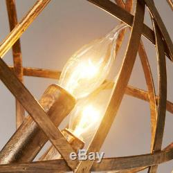 Rustic Wrought Iron Aged Brass Candle Chandelier Globe Pendant 4 Lights Fixture