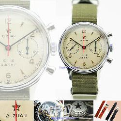 Seagull 1963 Acrylic Crystal + Nato X Leather 2 style Band D304 Pilot Watch