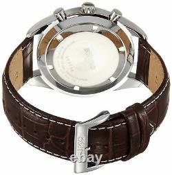 Seiko Chronograph SSB181 Silver Tone Dial Brown Leather Band Men's Watch