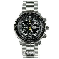Seiko Flightmaster Men's Black Dial Chronograph Watch SNA411