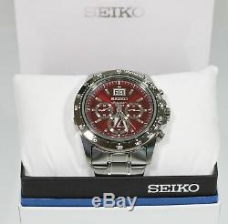 Seiko Men's Quartz Chronograph Red Dial Watch SPC243P1