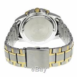 Seiko SSC142 Men's Solar Chronograph Black Dial Two-Tone Stainless Steel Watch