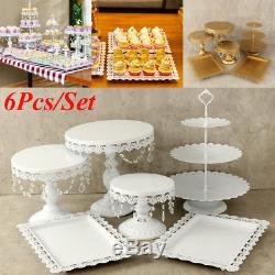 Set of 6 Crystal White Metal Cake Holder Cupcake Stand Wedding Display Gifts