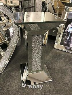 Sparkly Silver Crushed Diamante Crystals Mirrored Pedestal End Lamp Table