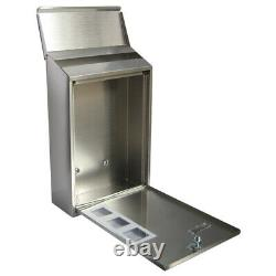Stainless Steel Wall Mounted Mail Letter Post Box Outdoor Metal Lockable Mailbox