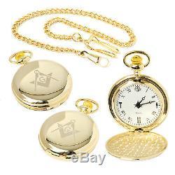 Stunning Brand New Masonic Quartz Full Hunter Pocket Watch at Reduced Price