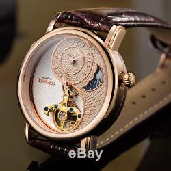 Tourbillon Luxury Automatic Mechanical Men's Watch Business Sport Crystal Glass