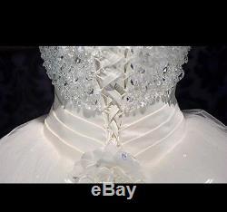 UK Luxury White/Ivory Strapless Crystal Wedding Dress Bridal Ball Gown Size 6-20