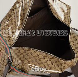 Unisex Gucci Bag 374770 Beige Ebony Gg Crystal Coated Canvas XL Duffle Web
