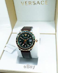 Versace Men's Watch V11090017 Hellenyium Gmt Swiss Made Brand Watch New