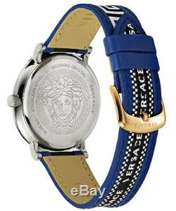 Versace Men's Watch VEBQ01419 V Circle Leather Swiss Made Brand Watch New