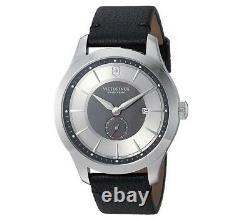 Victorinox Swiss Army Men's Watch Alliance Grey and Black Dial Leather Strap