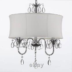 White Drum Shade Crystal Ceiling Chandelier Pendant Light Fixture Lighting Lamp
