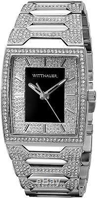 Wittnauer Men's WN3037 Quartz Crystal Accents Silver-Tone Bracelet 43mm Watch