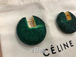 #oldceline Brand New Celine By Phoebe Philo Sparkles Moon Hoop Earrings